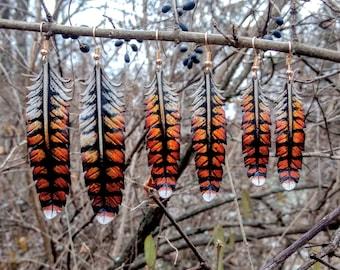 Leather feather earrings,original,handmade,earrings,feathers,crow,raven,owl,leather,jewelry,costume,cosplay,pagan,heathen,steampunk,OOAK,ear