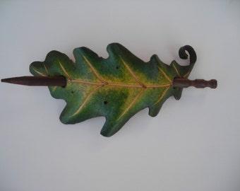 Oak leaf hair barrette,original,handmade,oak leaf,OOAK,hair toy,costume,cosplay,leather,leaf,pagan,Nordic,heathen,woods,nature,Faerie,oak