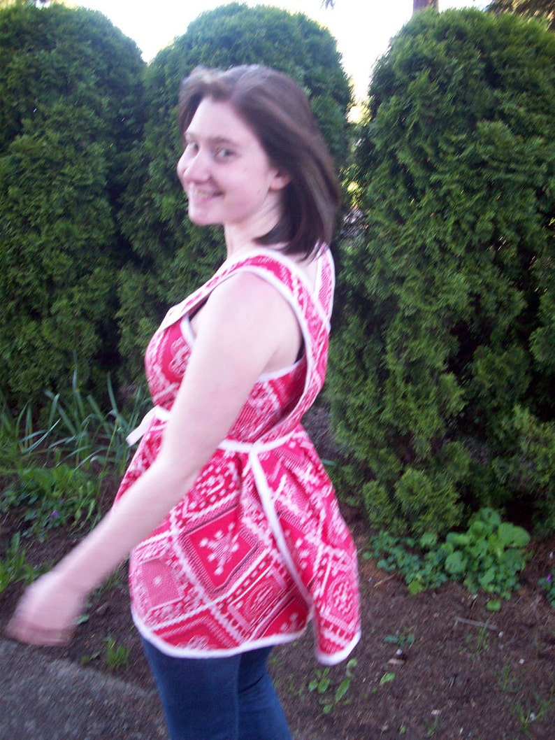 custom made Wrap top or blouse in vintage red cotton hankie print