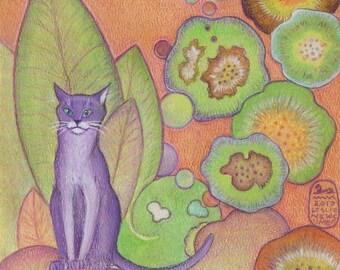 Cat Logic, new cat art print from an original  painting