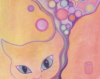 Stray Thoughts, new fantasy cat art print