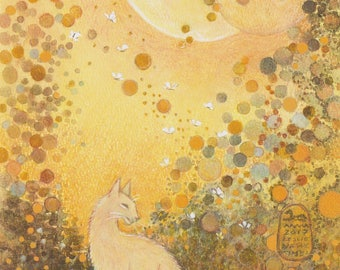 Luna Rising, cat in garden under 2 rising moons, new print from my original painting