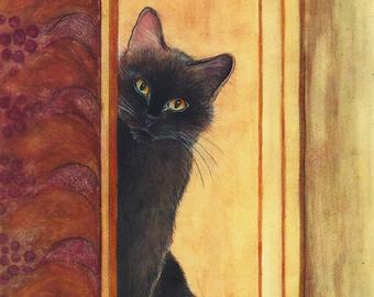 Black cat art print of my original painting