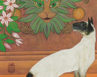 Green cat, Siamese cat print from my original painting