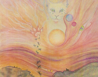 Why we land on our feet, cat art print from my painting