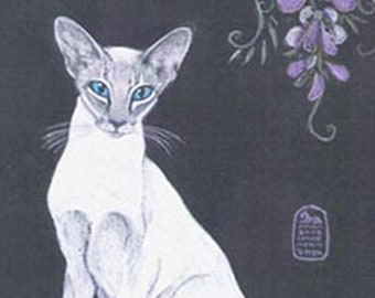 Tabby point Siamese Oriental cat art print from my original painting
