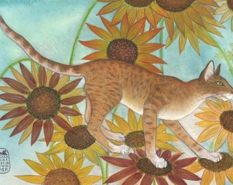 Oriental cat walking on sunflowers, Luke Sunwalker