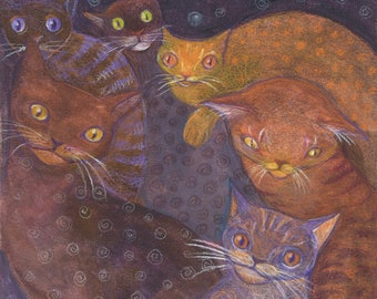 They only come out at night, strange cat art print