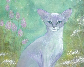 Oriental cat in a garden, print from my original painting