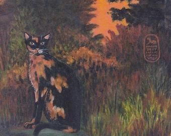 Catoflage print from original painting of a tortoiseshell cat