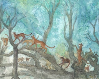 Abyssinian cats playing in the woods, new cat art print