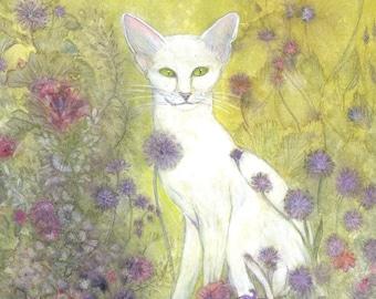 White cat in fairy garden print of my original painting