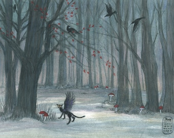 Winged cat and ravens, Into the woods series, new art print