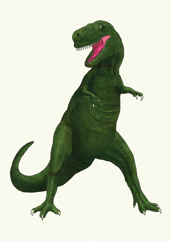Dinosaur Illustration Postcard \u2022 T Rex
