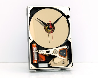 Computer hard drive clock, geek, nerd, Upcycle, recycle, reuse, repurpose, PC, analog, tech, desk, office, silver, black, red, vintage, time