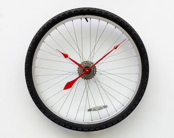 Bike Wheel Clock, Large Wall Clock, Cyclist Gift, Unique Wedding Gift, Steampunk Decor, Bicycle Wall Clock, mountain bike wheel tire clock
