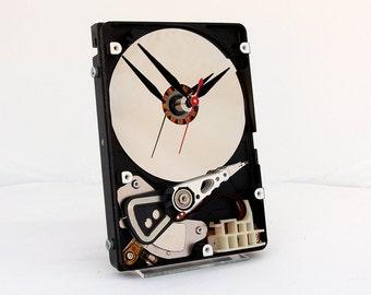 Computer Hard Drive Clock, Geek clock gift, harddrive clock, Computer parts clock, Industrial design gift clock  geek lovers gift, Recycled