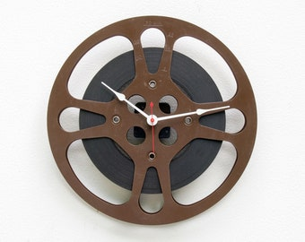 Film Reel Wall Clock, Filmmaker, Movie, Theater, Photographer, photo, recycle, reuse, repurpose, upcycle, antique, vintage, 16mm, brown,