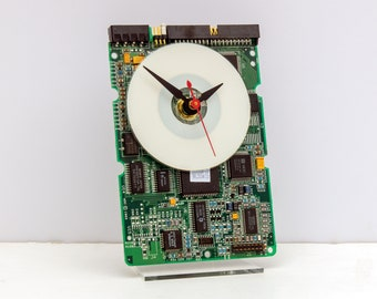 hard drive circuit board clock, Computer, geek, nerd, Recycle, upcycle, reuse, repurpose, steampunk, Apple, Mac, PC, desk, Father, office