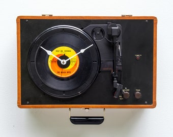 Turntable clock, record, player, album, LP, wall, Analog, music, console, vinyl, Recycle, upcycle, repurpose, reuse, audiophile, battery,