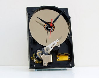 Computer hard drive clock, geek, nerd, Upcycle, recycle, reuse, repurpose, PC, analog, tech, desk, office, silver, black, red, vintage,