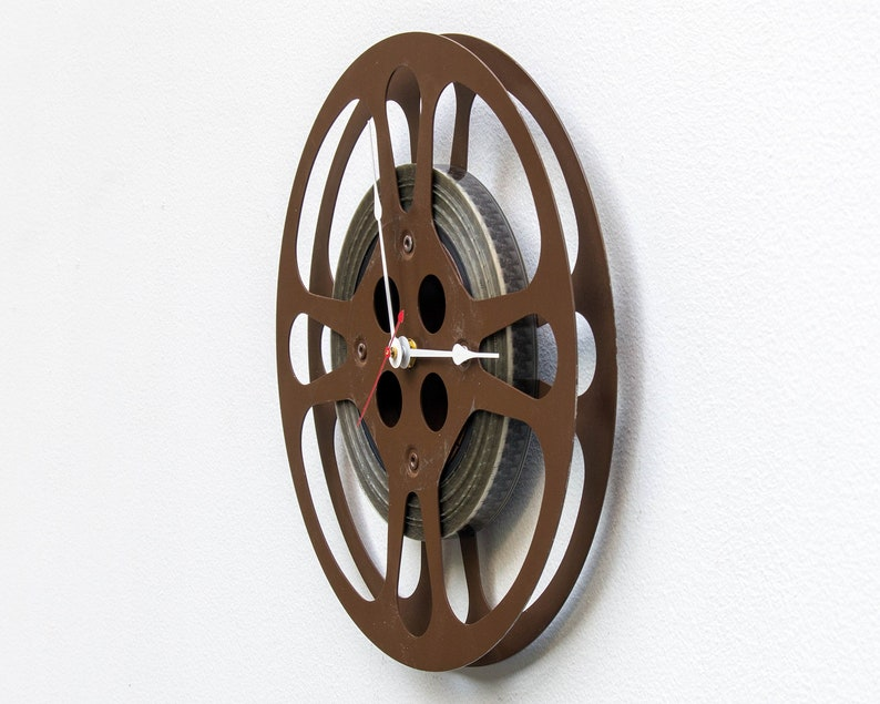 16mm photo reuse Theater vintage Movie brown, repurpose upcycle Filmmaker Photographer Film Reel Wall Clock antique recycle