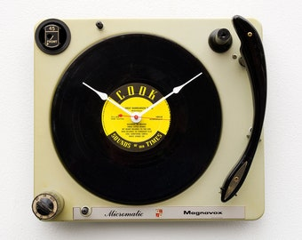 Record player clock, record album clock, music lover clock, Art Clock, upcycled large wall clock, repurposed Vintage antique clock, vinyl
