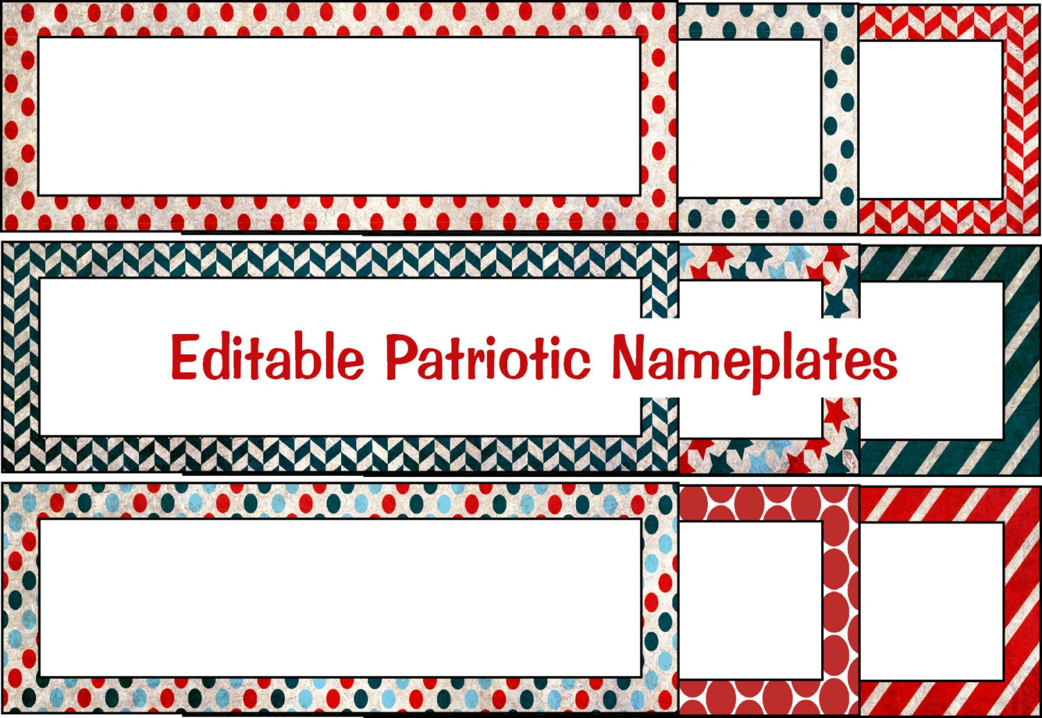 Editable Patriotic Tags Nameplate Template Instant Digital Etsy