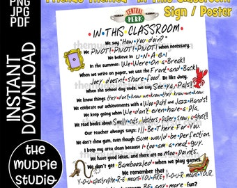 Friends Classroom Sign - Friends classroom decor, Friends poster, Friends sign, Friends Teacher, In This Classroom, Friends Rules, download