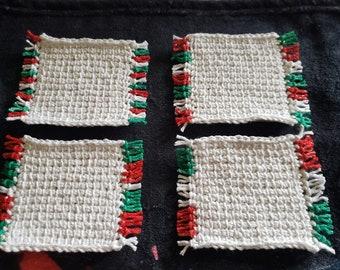 Set of 4 Tunisian Crochet Mug Rugs/Coasters/Cup Cozies, Cork Backings, cotton yarn, Christmas White Sparkle