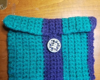 Crochet Wool Felted Kelly Green/Purple Stripes Wallet/Coin Bag/Cell Phone Case/Coupon Envelope, Metal Roser Button