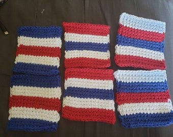 Set of 6 Tunisian Crochet Mug Rugs/Coasters/Cup Cozies, July 4th, Patriotic Colors: red, white, blue