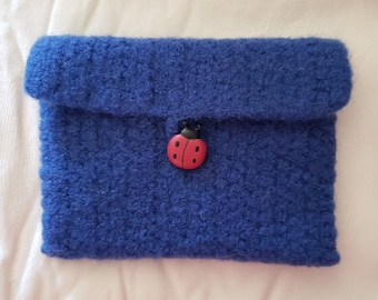 Crochet Wool Felted Royal Blue Wallet/Coin Bag/Cell Phone Case/Coupon Envelope, Ladybug Button