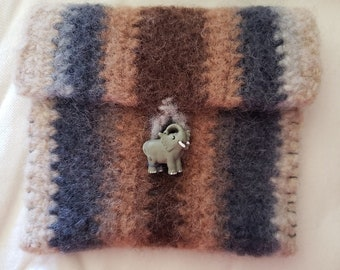 Crochet Wool Felted Gray/Beige/Brown Stripes Wallet/Coin Bag/Cell Phone Case/Coupon Envelope, Elephant Button