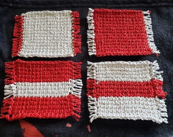Set of 4 Tunisian Crochet Mug Rugs/Coasters/Cup Cozies, Cork Backings, cotton yarn, Christmas White/Red with metallic thread