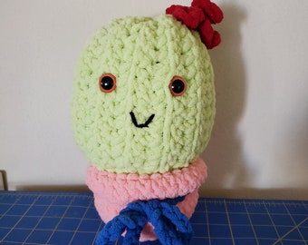 Soft & Cuddly Barrel Cactus Plush Toy, Made with Blanket Yarn, Peach, Green, Blue