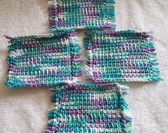 Set of 4 Tunisian Crochet Mug Rugs/Coasters/Cup Cozies, Cork Backings, cotton yarn, blue/greenpurple/white