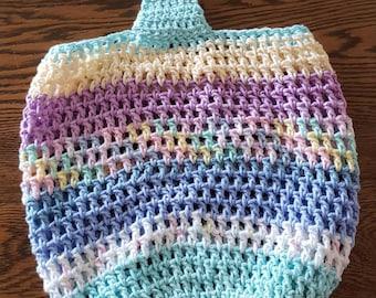 Cotton Market Tote Bag, shoulder bag, beach bag, Farmer's Market Bag, kids toy bag, pastel colors, reusable, machine washable