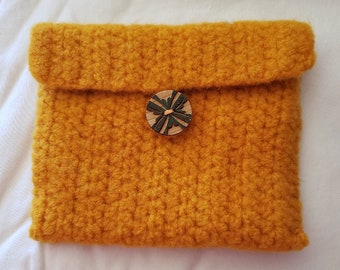 Crochet Wool Felted Golden Yellow Wallet/Coin Bag/Cell Phone Case/Coupon Envelope, wooden Button