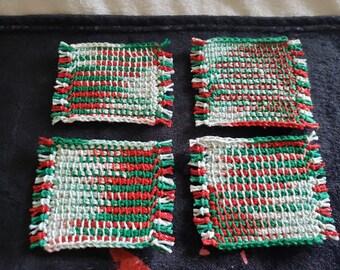 Set of 4 Tunisian Crochet Mug Rugs/Coasters/Cup Cozies, Cork Backings, cotton yarn, Christmas  Mistletoe Sparkle colors