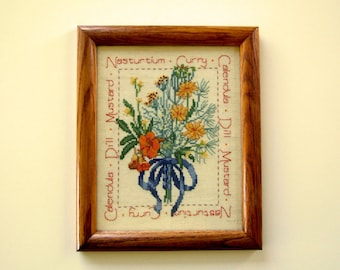 Charming Old Fashioned Cross Stitch Handmade Vintage Art Herb & Flower Wall Hanging Cottage Chic Housewarming Gift Great Gift for Friends