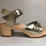 Gold Vera Sandal with Buckled ankle strap