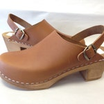Honey Brown  oiled Medium heel clog with ankle strap and bronze buckle
