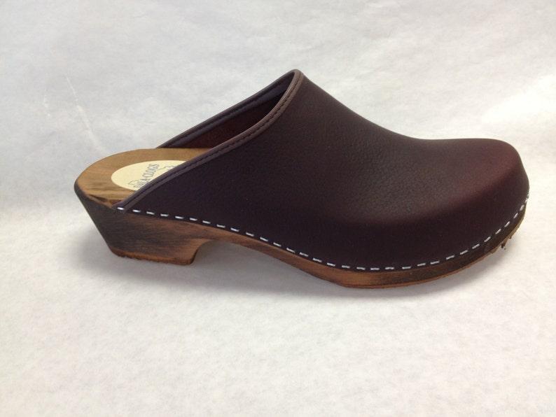 MENS Burgundy Brown oiled classic low heel clog image 0