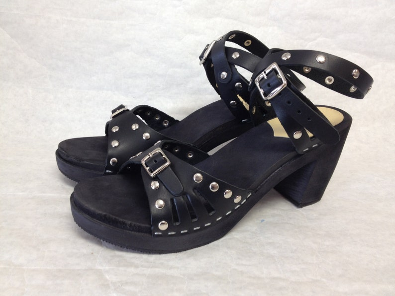 0dee51b8fee85 Super High Heeled Black leather sandal and silver studds