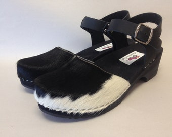 Sophie Low Heel // Black and White Cowhide  Low Heel Clog with buckle ankle strap