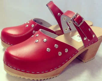 Carmen Med // Red Medium Heel with silver studs and simple strap