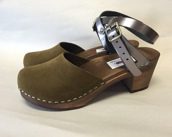 Zoe Med heel// Green Suede and Metallic Wrap Around Strap Clog with Brown Sole