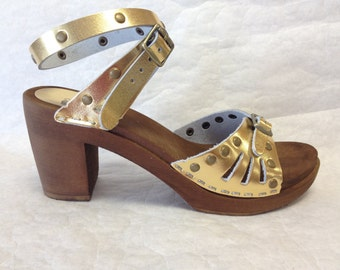 Vera // Gold Leather with Bronze Studs Sandal