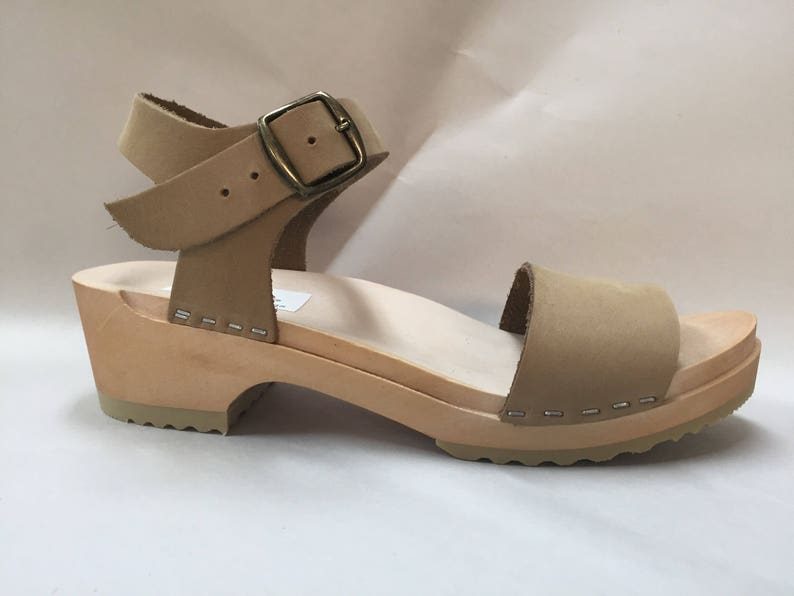 Wide strap sandal in nude nubuc with Buckled ankle strap image 0